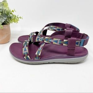 Teva Purple and Green Strappy Sandals
